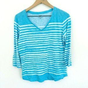 Crown & Ivy Turquoise Stripe V-Neck Shirt